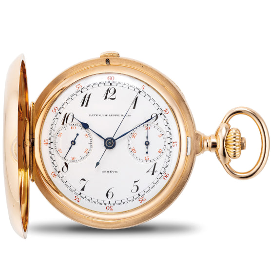 A very fine and well preserved pink gold hunter case single-button chronograph pocket watch with enamel dial, Breguet numerals, Certificate of Origin and presentation box
