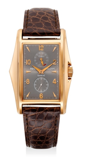 A very fine and rare pink gold rectangular-shaped wristwatch with 10-Day power reserve indicator, made to commemorate the New Millennium