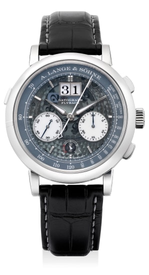 An extremely fine, rare and well preserved limited edition platinum chronograph wristwatch with luminous date, power reserve indication, subsidiary dials, outer track, guarantee and presentation box, numbered 91 of a limited edition of 200 pieces