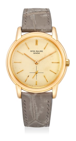 An attractive and very rare pink gold wristwatch with small center seconds