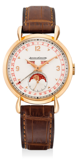 A fine and attractive pink gold triple calendar wristwatch with retrograde date and moon phases