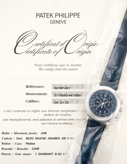 A fine and attractive platinum chronograph wristwatch with Certificate of Origin and presentation box, single sealed