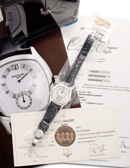 An exceptionally rare limited edition platinum chiming wristwatch with jump second and minute, digital jump hour, engraved dial and case, Certificate of Origin and presentation box, made for the 175th anniversary of Patek Philippe
