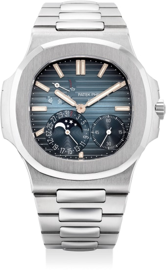 A very fine and attractive stainless steel wristwatch with small seconds, date, moon phases, power reserve indication, bracelet and Certificate of Origin