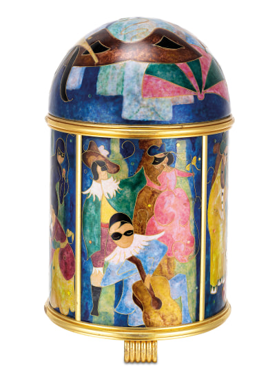 """A very fine and unique gilt brass solar power dome clock with cloisonné enamel scene """"Travestis"""" by Marie Françoise Martin, with Patek Philippe fitted presentation box"""