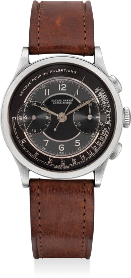 A fine and attractive stainless steel chronograph wristwatch with tri-tone gilt dial and pulsation meter scale