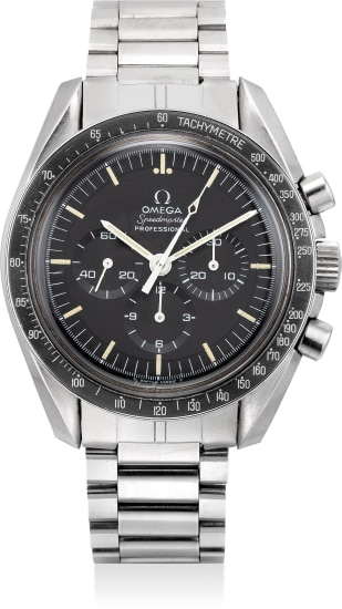 A fine and rare stainless steel chronograph wristwatch with bracelet and guarantee