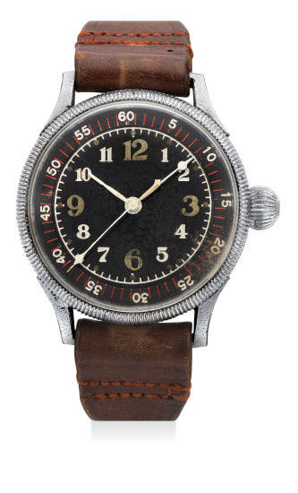 An extremely rare and historically oversized nickel-plated pilot's watch