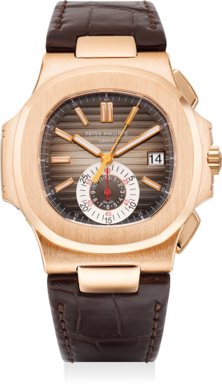 A very fine and attractive pink gold flyback chronograph wristwatch with date and certificate of origin, retailed by Tiffany & Co.,
