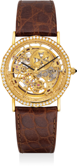 A fine and attractive yellow gold and diamond set skeletonized wristwatch
