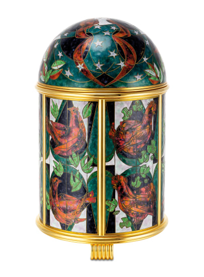 """An extremely fine and unique gilt brass solar power dome clock with cloisonné enamel scene """"Rooster"""" by Derrcle, with Patek Philippe fitted presentation box"""