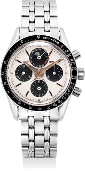 A fine and rare stainless steel triple calendar chronograph wristwatch with moon phases and bracelet
