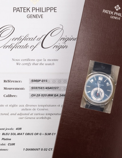 A fine and rare platinum annual calendar chronograph wristwatch with blue dial, Certificate of Origin and presentation box, factory sealed