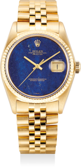 "A fine and attractive yellow gold wristwatch with sweep center seconds, date, ""Lapis Lazuli"" dial and bracelet"