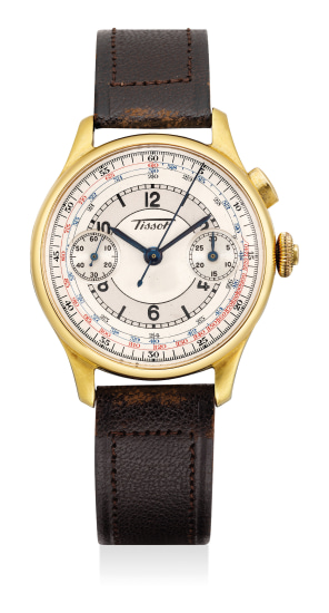 A fine yellow gold chronograph wristwatch with two-tone sector dial and blued hands