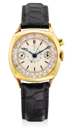 A fine and attractive yellow gold cushion-shaped single-button chronograph wristwatch with blued Breguet hands