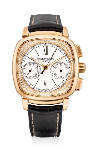 A lady's fine, attractive and elegant pink gold and diamond-set chronograph wristwatch with certificate and presentation box