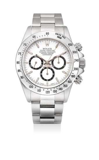 A very fine and attractive stainless steel chronograph wristwatch with bracelet, guarantee and presentation box