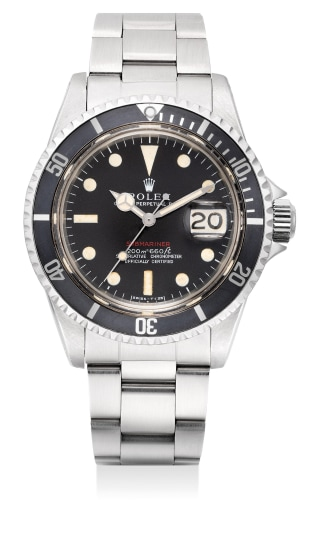 """A very fine, attractive and rare stainless steel diver's wristwatch with sweep center seconds, date, """"Mark I"""" dial and bracelet"""