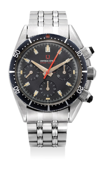 A fine, attractive and rare stainless steel chronograph wristwatch with bracelet, guarantee and presentation box