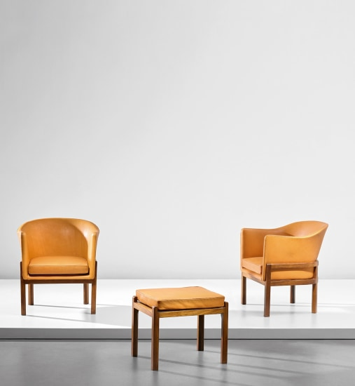 Pair of easy chairs and ottoman, from a private commission, Copenhagen