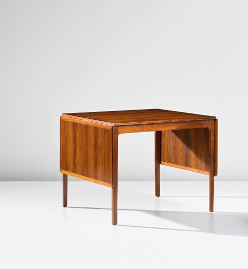 Drop-leaf writing table, designed for the library of the Danish Institute of Science and Art, Rome