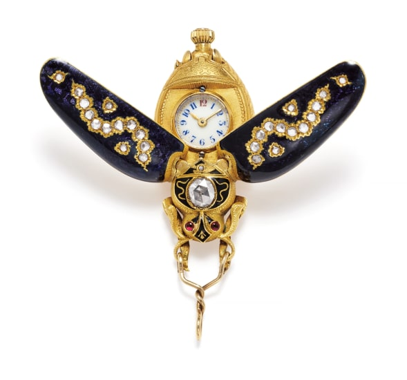 An Antique Diamond, Ruby, Enamel and Gold Watch Pendant