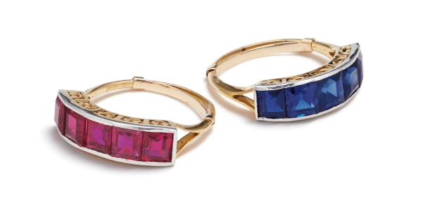 A Companion Pair of Antique Ruby, Sapphire and Platinum-Topped Gold Rings