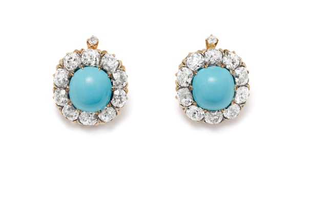 A Pair of Turquoise, Diamond, Gold and Silver-Topped Gold Earrings