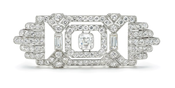 An Art Deco Diamond and Platinum Brooch