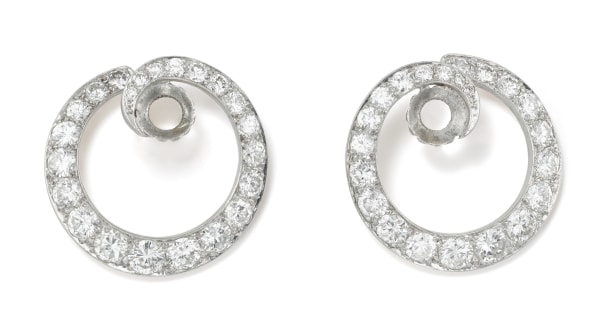 A Pair of Diamond and Platinum Earring Jackets