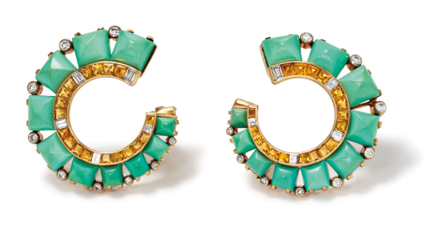 A Pair of Turquoise, Citrine, Diamond and Gold Earrings