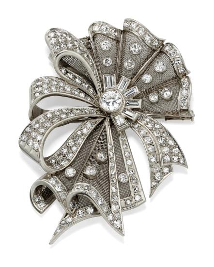A Diamond, Platinum and Gold Brooch