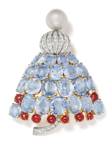 A Natural Pearl, Diamond, Sapphire, Ruby and Gold Brooch