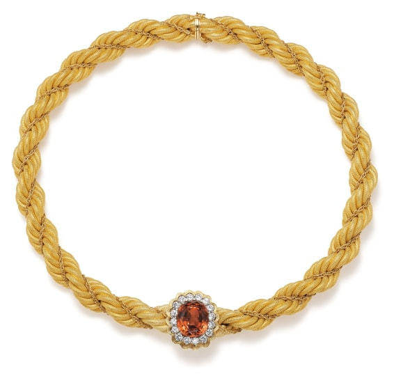 A Garnet, Diamond and Gold Necklace