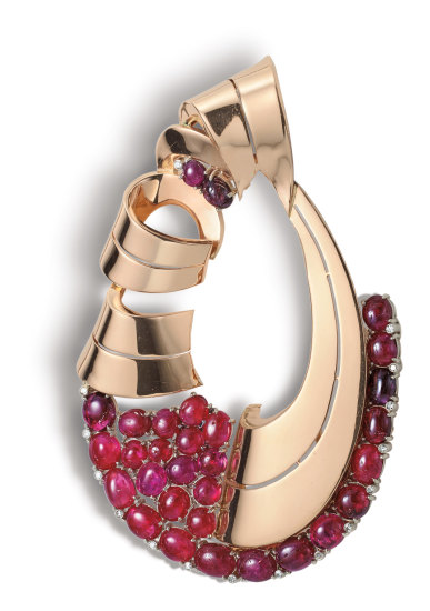 A Retro Ruby, Diamond and Gold Brooch