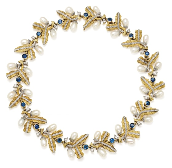A Sapphire, Cultured Pearl and Bicolored Gold Necklace