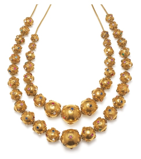 A Set of Multi-Gem and Gold Necklaces