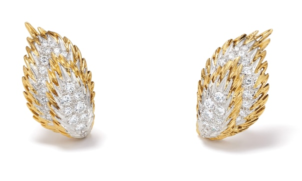 A Pair of Diamond, Platinum and Gold Earrings