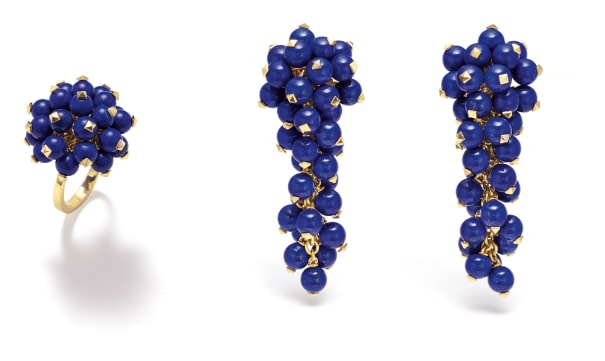 A Pair of Lapis Lazuli and Gold Earrings and Ring