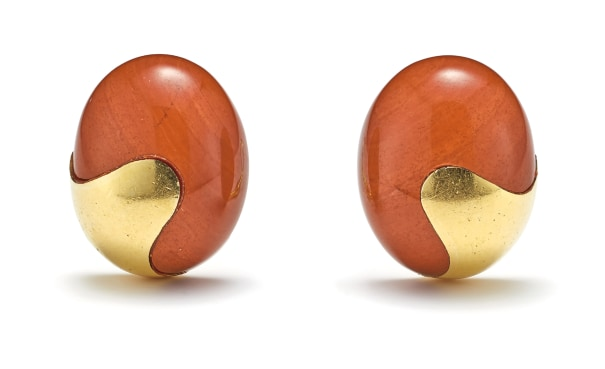 A Pair of Jasper and Gold 'Bean' Earrings