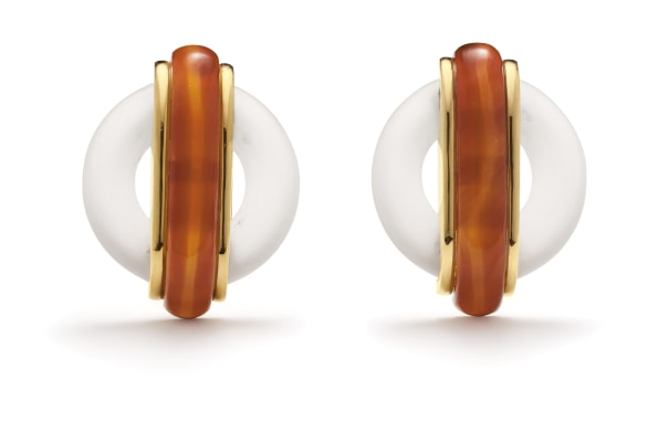 A Pair of Carnelian, Rock Crystal and Gold Earrings