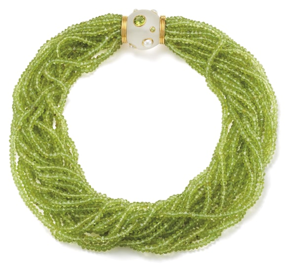 A Multi-Strand Peridot, Mabé Pearl, Rock Crystal and Gold Torsade Necklace