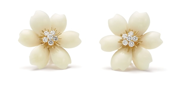 A Pair of Coral, Diamond and Gold 'Rose de Noël' Earrings