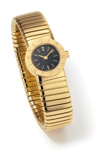 A Gold and Lacquer 'Tubogas' Wristwatch