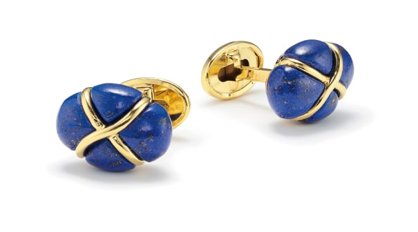A Pair of Lapis Lazuli and Gold 'Turban' Cufflinks