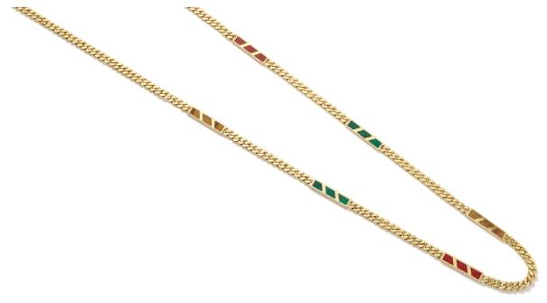 A Malachite, Tiger's Eye, Jasper and Gold Necklace
