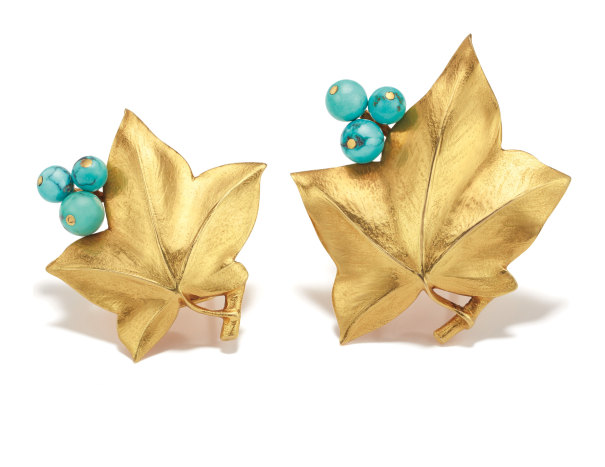 A Companion Pair of Turquoise and Gold Clips
