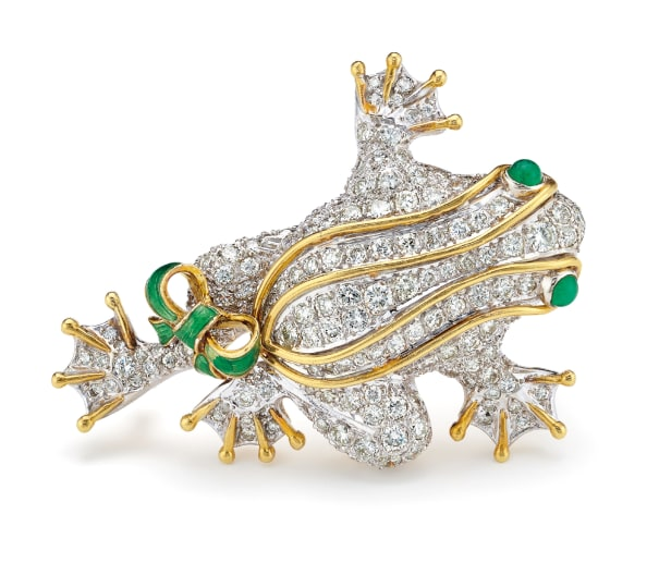 A Diamond, Emerald, Enamel and Gold Brooch