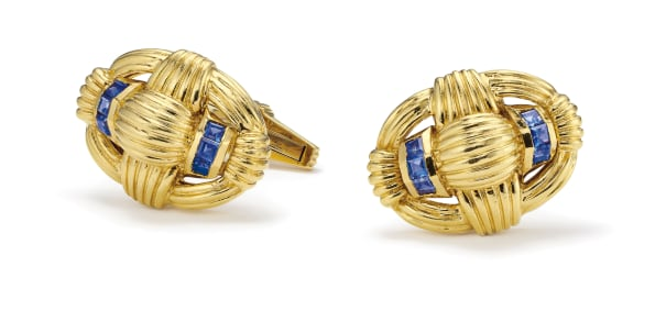 A Pair of Sapphire and Gold Cufflinks